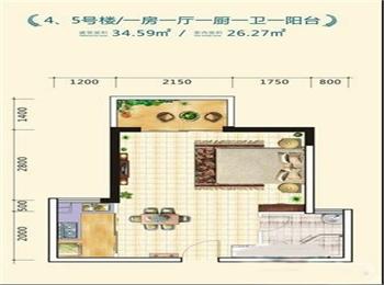4-5号楼一房一厅一厨一卫一阳台