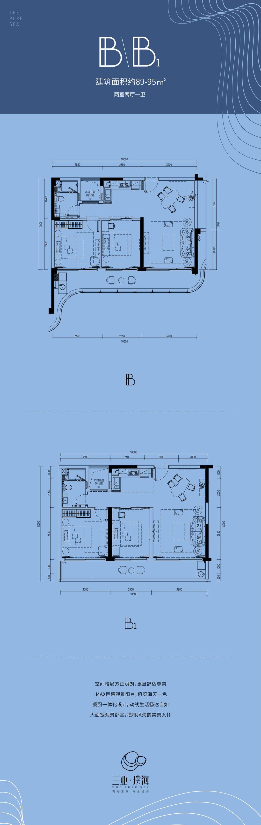 B-B1户型两室两厅一卫